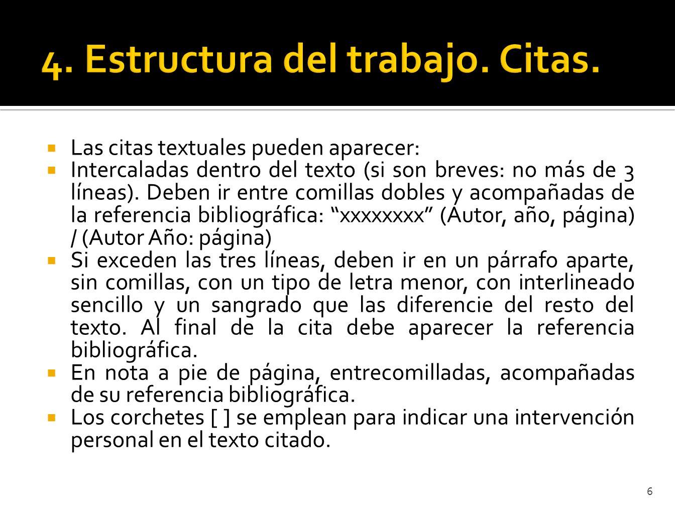 4. Estructura del trabajo. Citas.