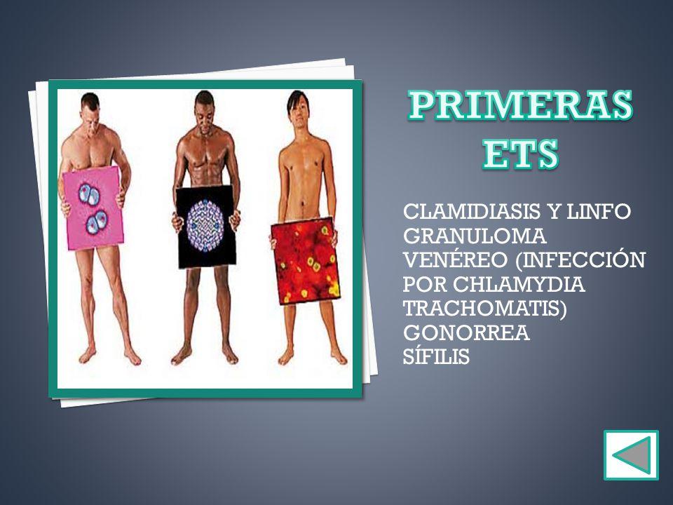 PRIMERAS ETS CLAMIDIASIS Y LINFOGRANULOMA VENÉREO (INFECCIÓN POR CHLAMYDIA TRACHOMATIS) GONORREA.