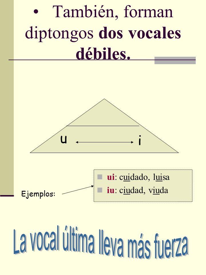 También, forman diptongos dos vocales débiles.