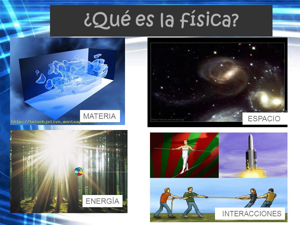 ¿Qué es la física MATERIA ESPACIO ENERGÍA INTERACCIONES