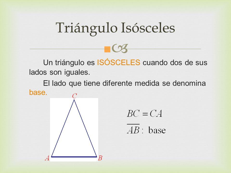 Triángulo Isósceles Un triángulo es ISÓSCELES cuando dos de sus lados son iguales.