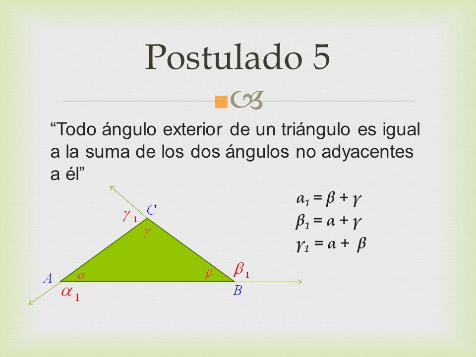 Postulado 5 Todo ángulo exterior de un triángulo es igual a la suma de los dos ángulos no adyacentes a él