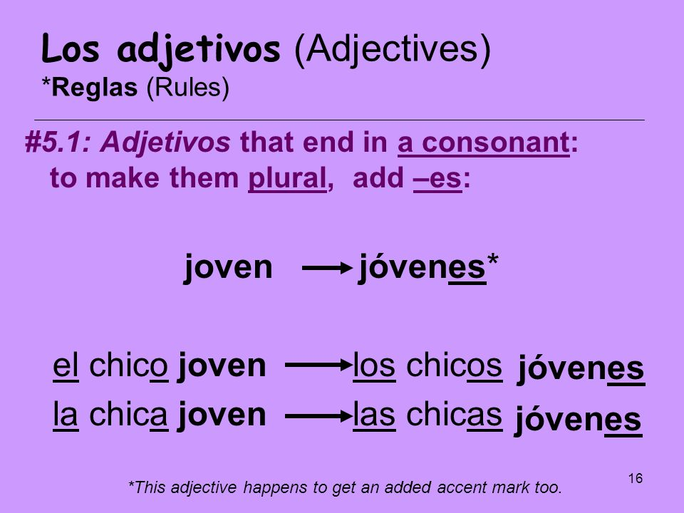 Los adjetivos (Adjectives) *Reglas (Rules)