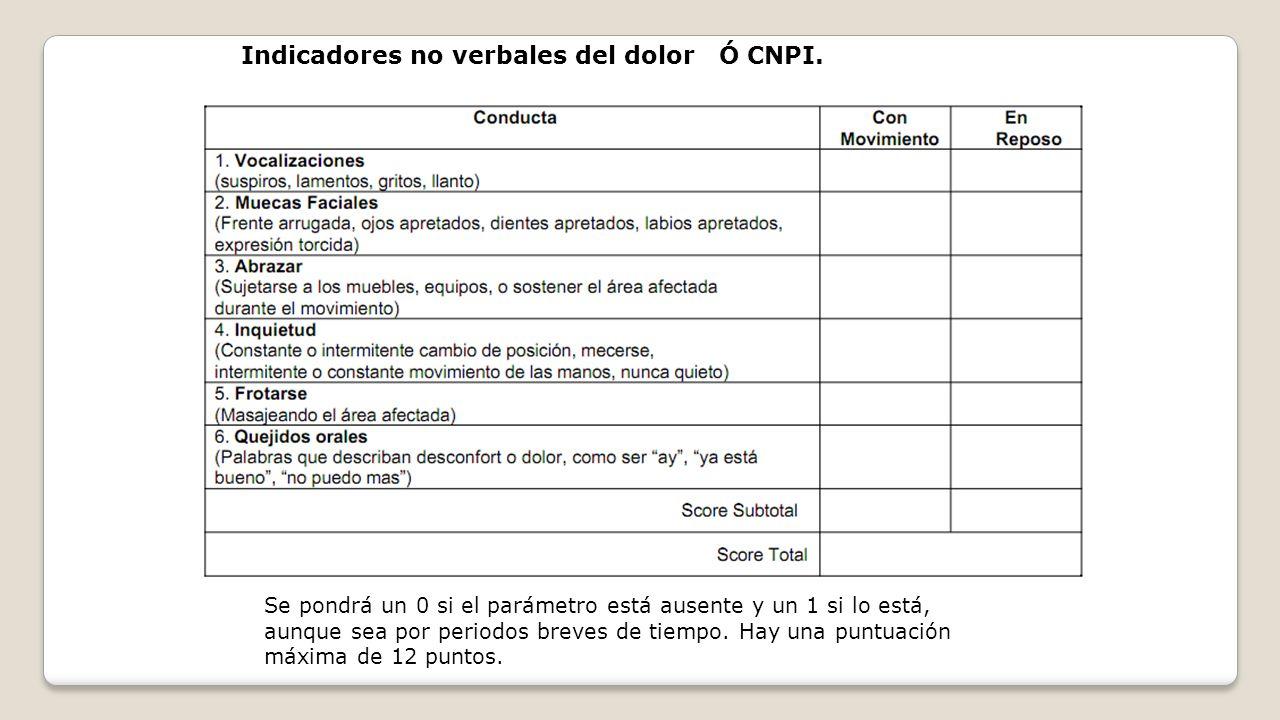 Indicadores no verbales del dolor Ó CNPI.
