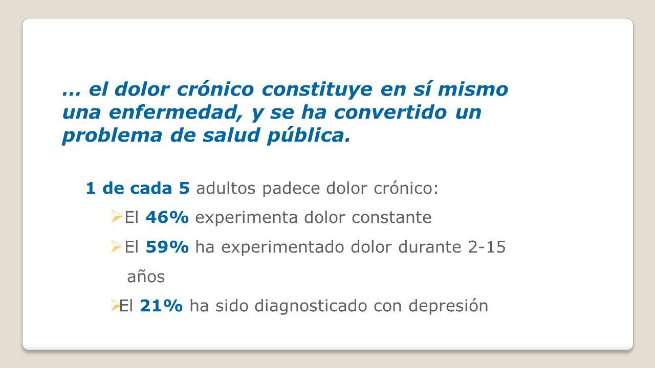 … el dolor crónico constituye en sí mismo una enfermedad, y se ha convertido un problema de salud pública.