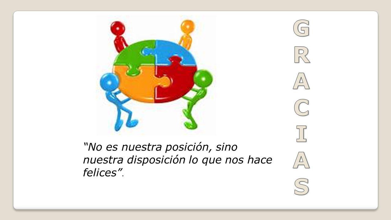 G R A C I S No es nuestra posición, sino nuestra disposición lo que nos hace felices .