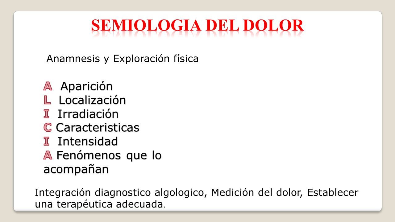 SEMIOLOGIA DEL dolor A Aparición L Localización I Irradiación