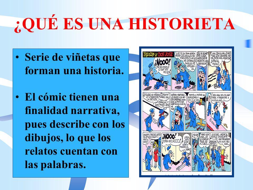 ¿QUÉ ES UNA HISTORIETA Serie de viñetas que forman una historia.