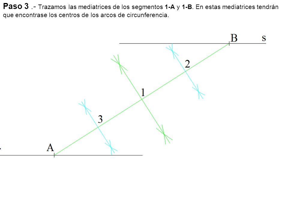 Paso 3. - Trazamos las mediatrices de los segmentos 1-A y 1-B