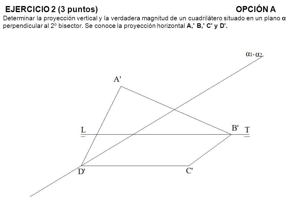 EJERCICIO 2 (3 puntos) OPCIÓN A Determinar la proyección vertical y la verdadera magnitud de un cuadrilátero situado en un plano α perpendicular al 2º bisector.