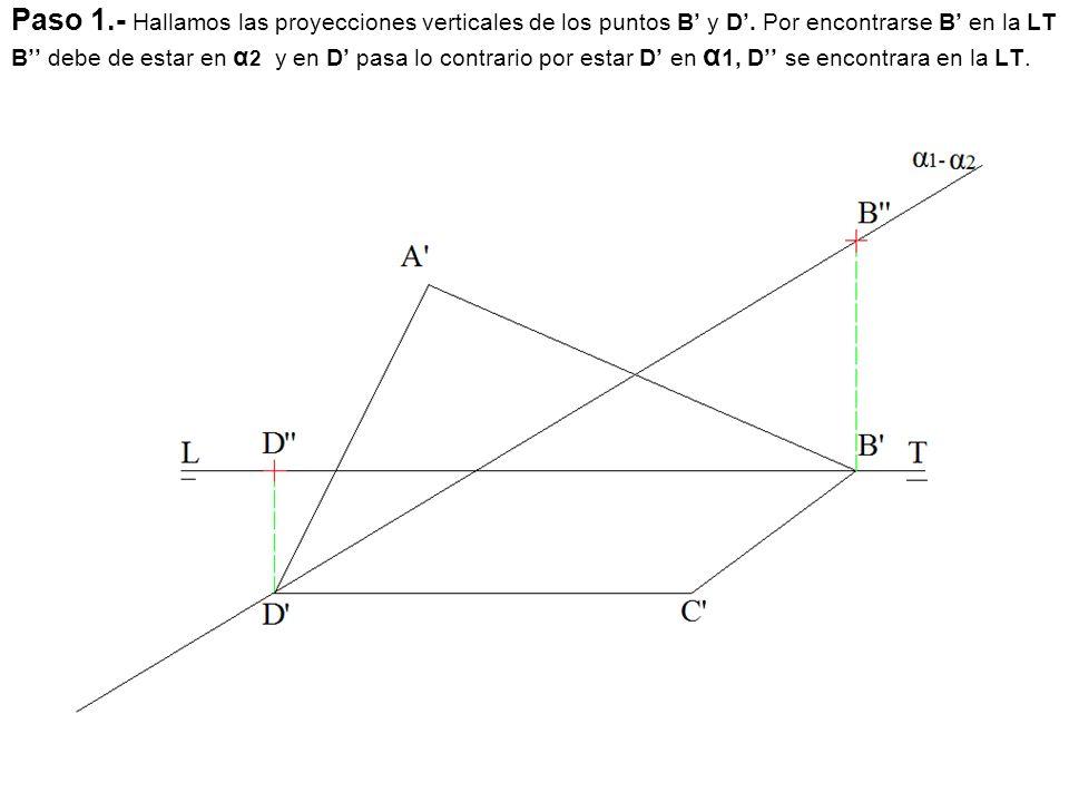 Paso 1. - Hallamos las proyecciones verticales de los puntos B' y D'