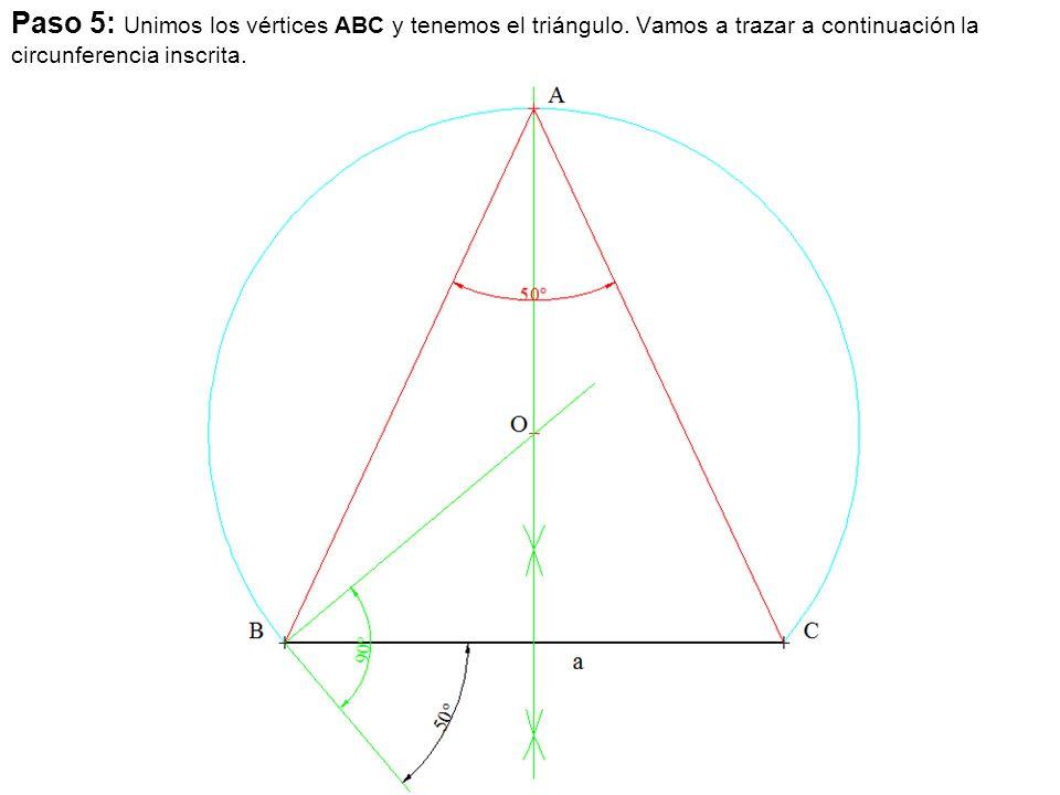 Paso 5: Unimos los vértices ABC y tenemos el triángulo