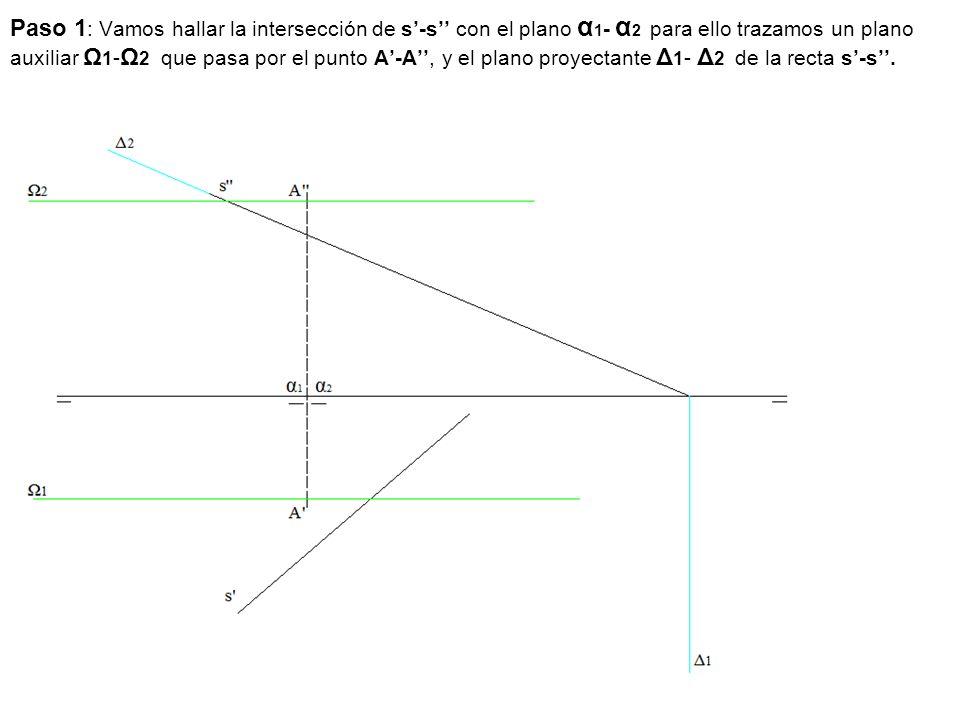Paso 1: Vamos hallar la intersección de s'-s'' con el plano α1- α2 para ello trazamos un plano auxiliar Ω1-Ω2 que pasa por el punto A'-A'', y el plano proyectante Δ1- Δ2 de la recta s'-s''.