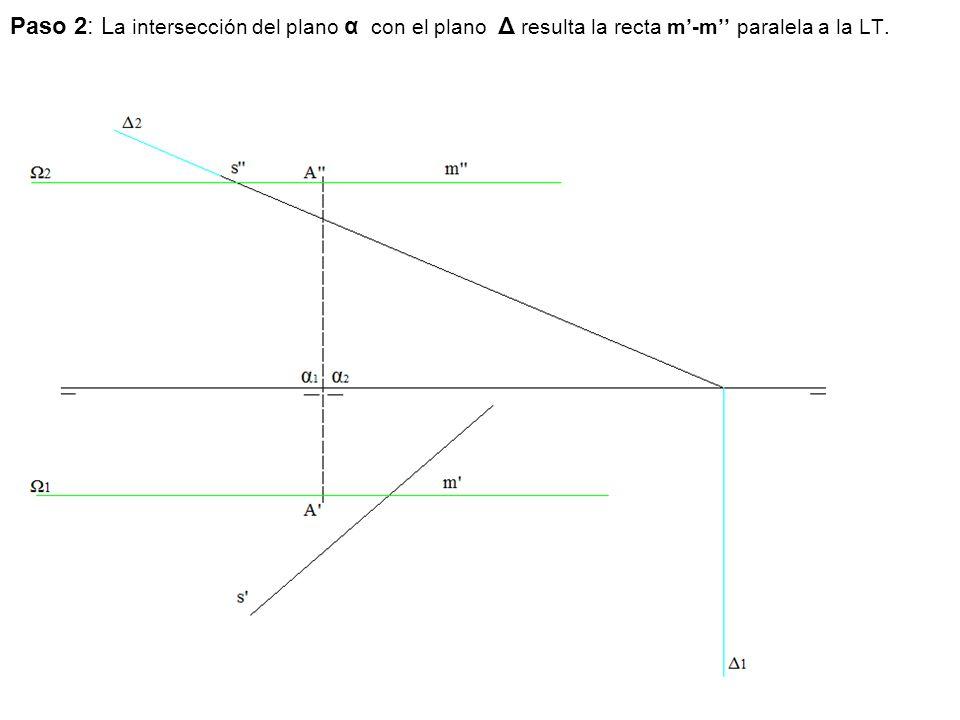 Paso 2: La intersección del plano α con el plano Δ resulta la recta m'-m'' paralela a la LT.