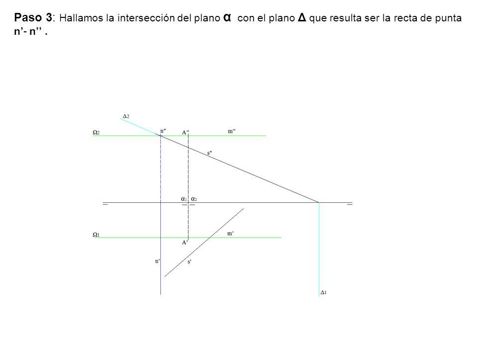 Paso 3: Hallamos la intersección del plano α con el plano Δ que resulta ser la recta de punta n'- n'' .