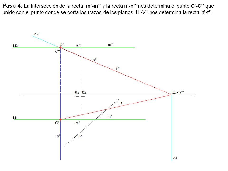 Paso 4: La intersección de la recta m'-m'' y la recta n'-n'' nos determina el punto C'-C'' que unido con el punto donde se corta las trazas de los planos H'-V'' nos determina la recta t'-t''.