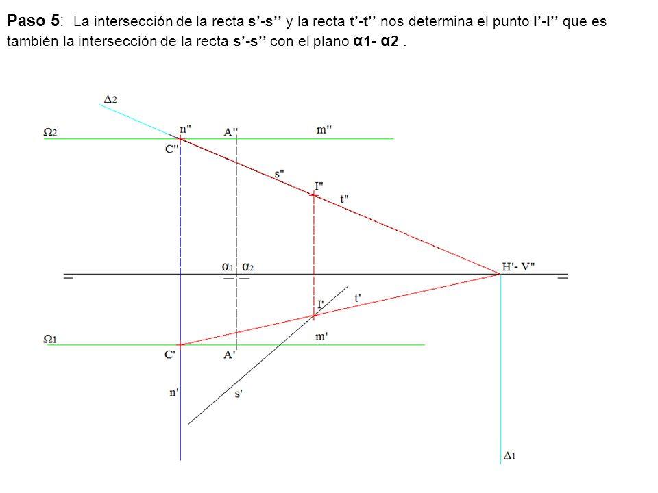 Paso 5: La intersección de la recta s'-s'' y la recta t'-t'' nos determina el punto I'-I'' que es también la intersección de la recta s'-s'' con el plano α1- α2 .