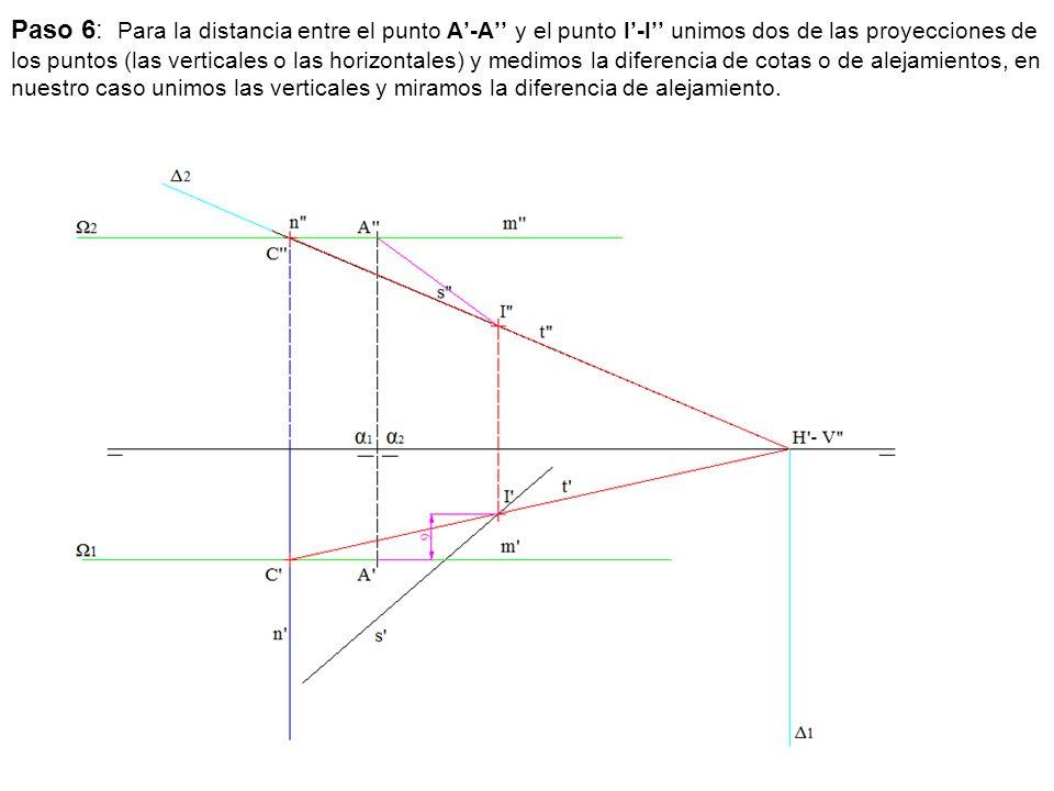 Paso 6: Para la distancia entre el punto A'-A'' y el punto I'-I'' unimos dos de las proyecciones de los puntos (las verticales o las horizontales) y medimos la diferencia de cotas o de alejamientos, en nuestro caso unimos las verticales y miramos la diferencia de alejamiento.