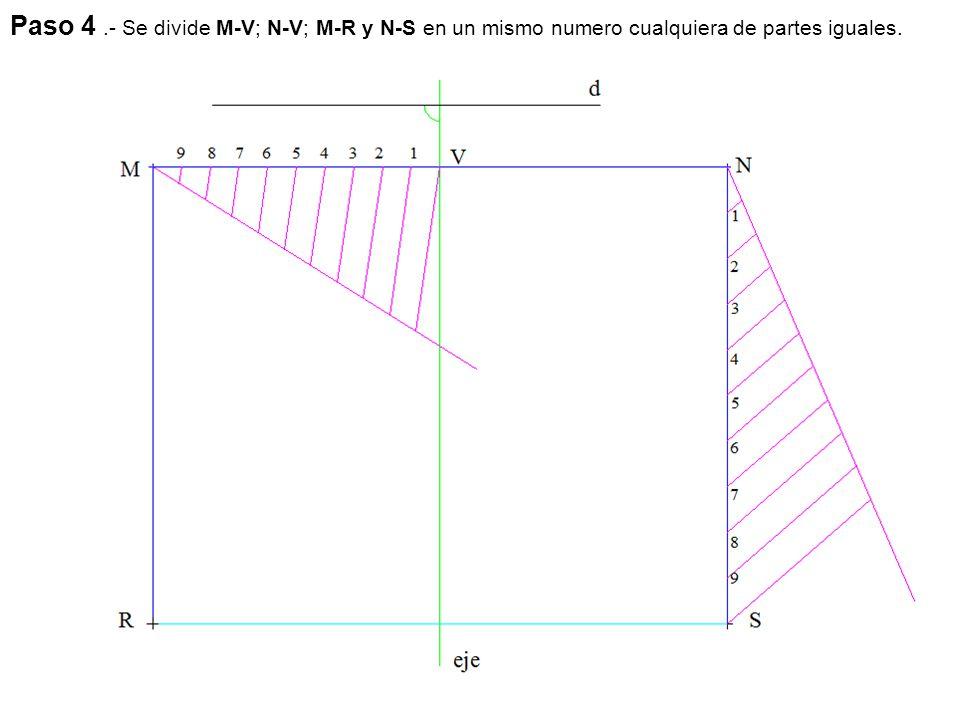 Paso 4 .- Se divide M-V; N-V; M-R y N-S en un mismo numero cualquiera de partes iguales.