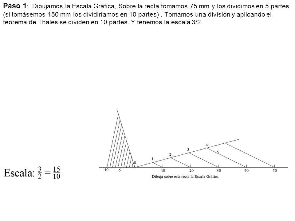 Paso 1: Dibujamos la Escala Gráfica, Sobre la recta tomamos 75 mm y los dividimos en 5 partes (si tomásemos 150 mm los dividiríamos en 10 partes) .