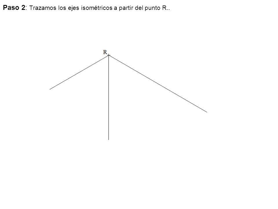 Paso 2: Trazamos los ejes isométricos a partir del punto R..