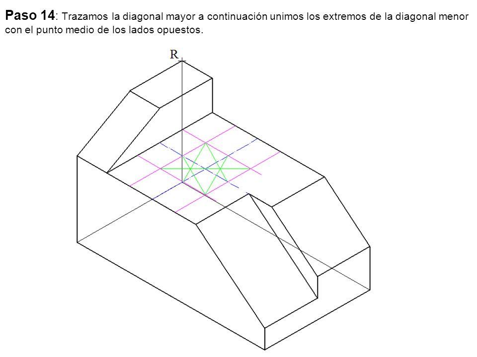 Paso 14: Trazamos la diagonal mayor a continuación unimos los extremos de la diagonal menor con el punto medio de los lados opuestos.