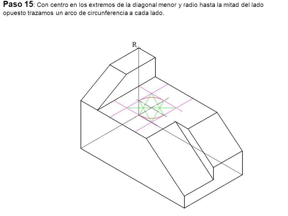 Paso 15: Con centro en los extremos de la diagonal menor y radio hasta la mitad del lado opuesto trazamos un arco de circunferencia a cada lado.