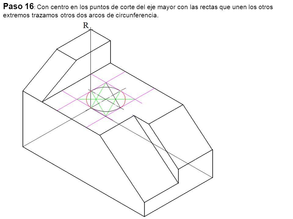 Paso 16: Con centro en los puntos de corte del eje mayor con las rectas que unen los otros extremos trazamos otros dos arcos de circunferencia.