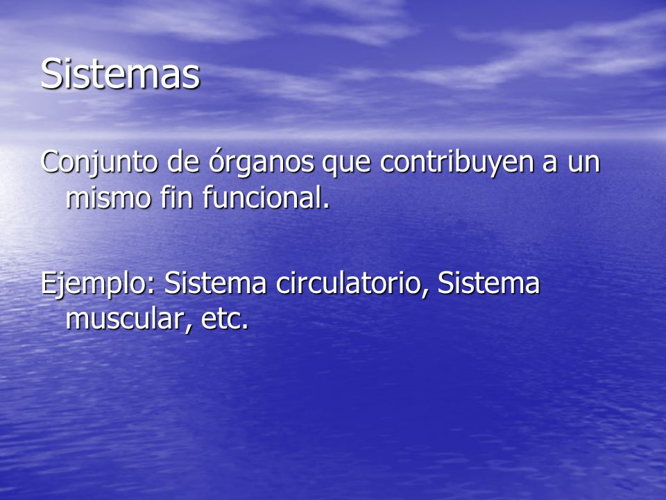 Sistemas Conjunto de órganos que contribuyen a un mismo fin funcional.