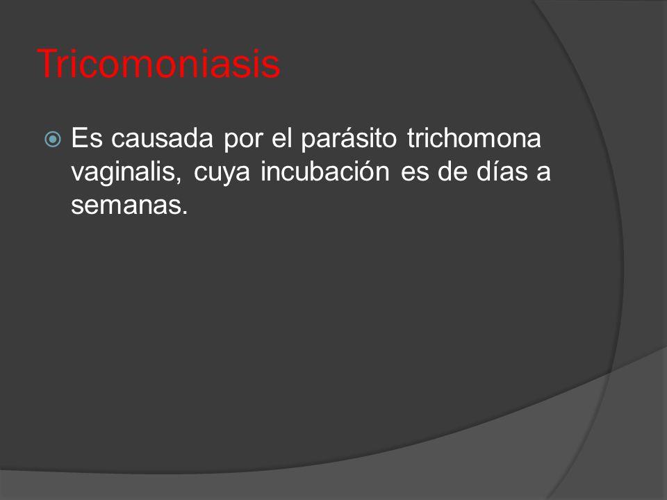 Tricomoniasis Es causada por el parásito trichomona vaginalis, cuya incubación es de días a semanas.