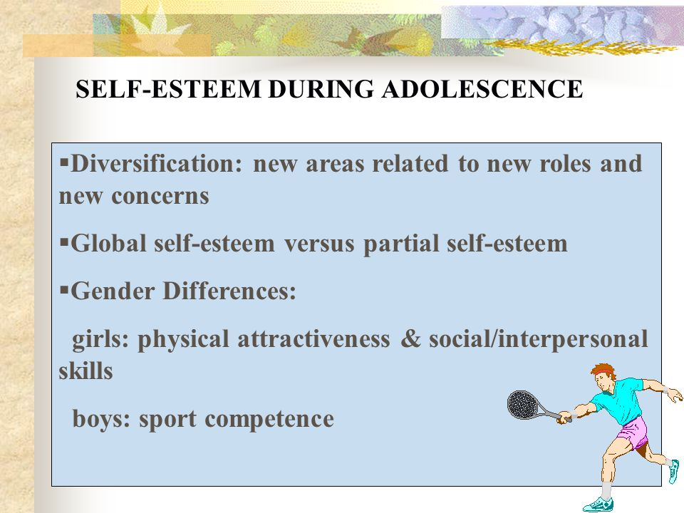 the adolescents search for self esteem and the role of professors in the search Anne bowker, undergraduate chair with a particular interest in the role of and how this might predict positive developmental indices such as self-esteem.