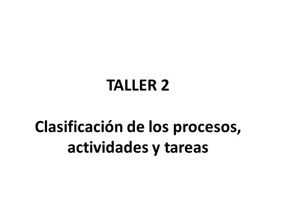 TALLER 2 Clasificación de los procesos, actividades y tareas