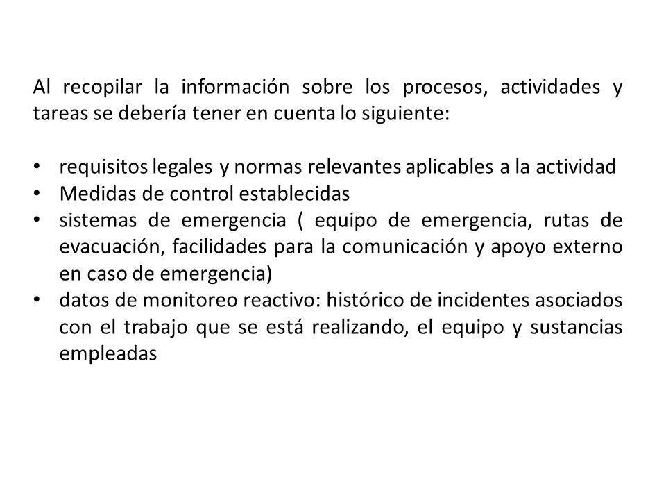 Al recopilar la información sobre los procesos, actividades y tareas se debería tener en cuenta lo siguiente: