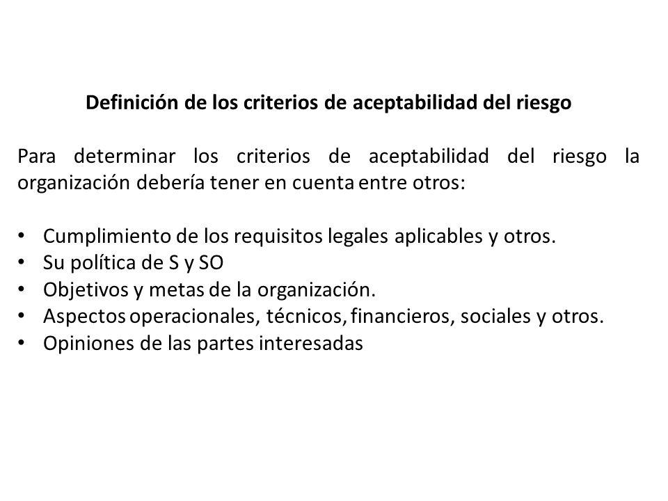 Definición de los criterios de aceptabilidad del riesgo
