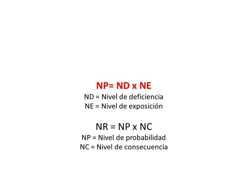 NP= ND x NE NR = NP x NC ND = Nivel de deficiencia