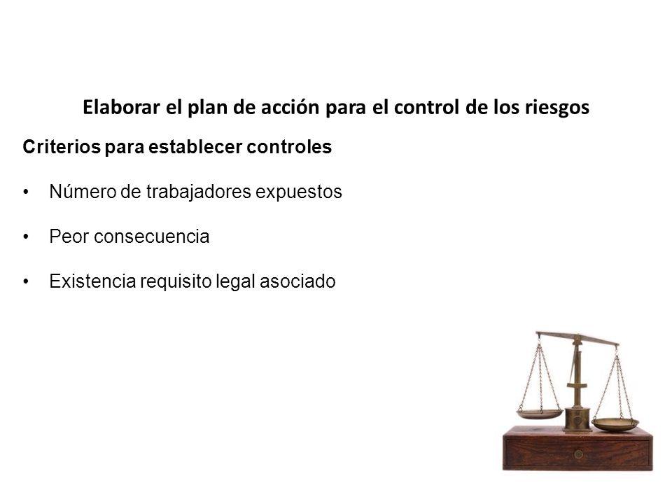 Elaborar el plan de acción para el control de los riesgos