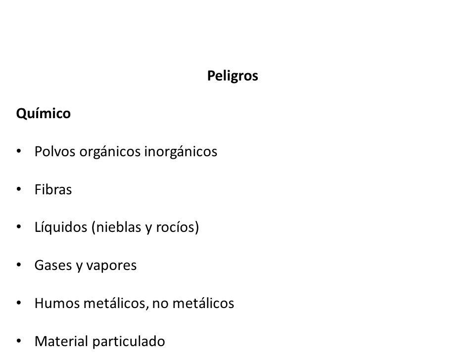 Peligros Químico. Polvos orgánicos inorgánicos. Fibras. Líquidos (nieblas y rocíos) Gases y vapores.