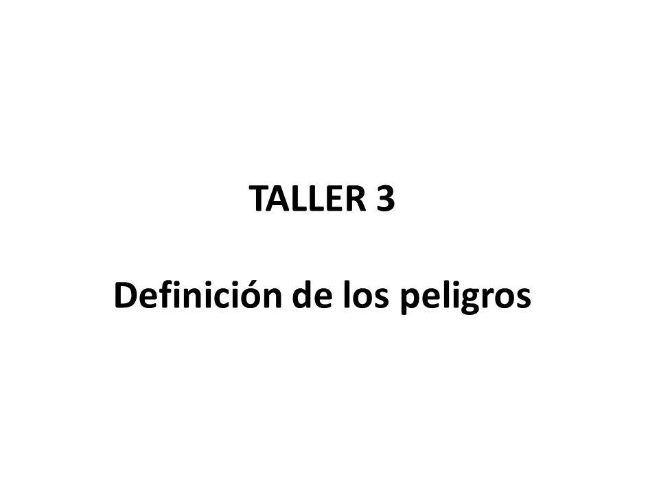 TALLER 3 Definición de los peligros