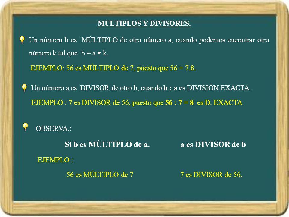 MÚLTIPLOS Y DIVISORES. Un número b es MÚLTIPLO de otro número a, cuando podemos encontrar otro número k tal que b = a  k.
