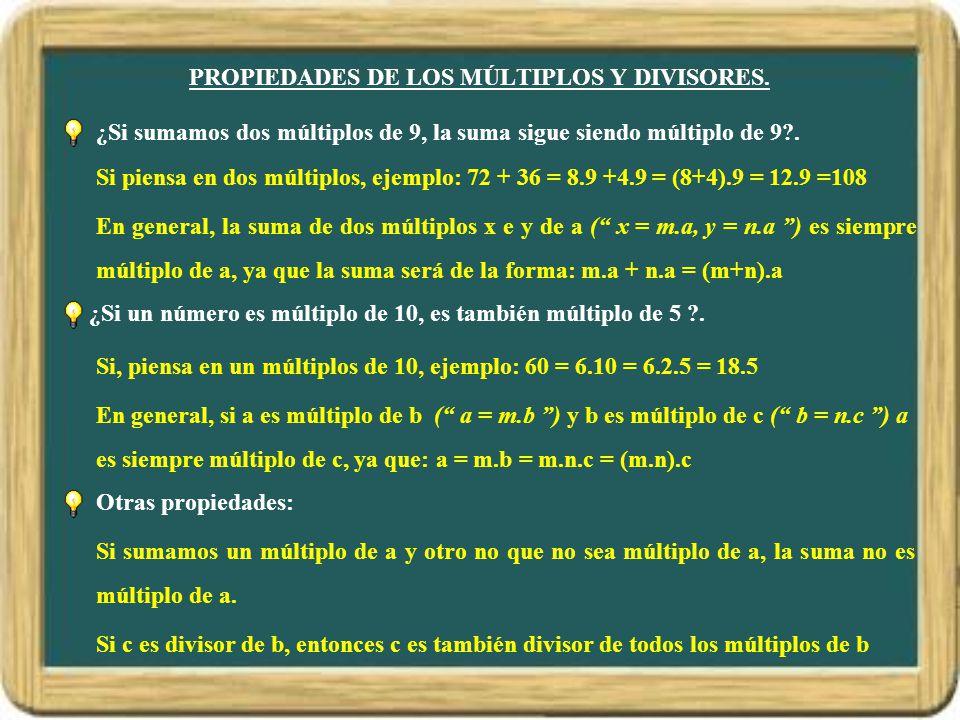 PROPIEDADES DE LOS MÚLTIPLOS Y DIVISORES.