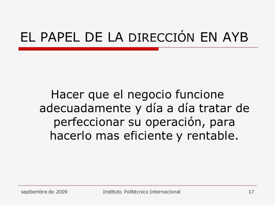 EL PAPEL DE LA DIRECCIÓN EN AYB