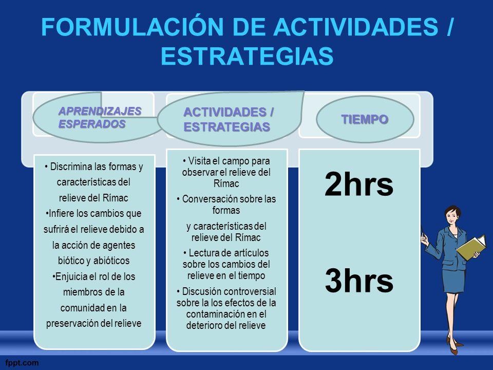 FORMULACIÓN DE ACTIVIDADES / ESTRATEGIAS