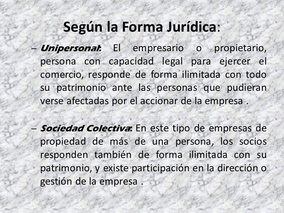 Según la Forma Jurídica:
