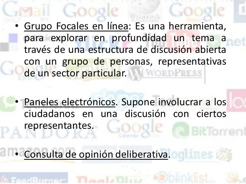 Grupo Focales en línea: Es una herramienta, para explorar en profundidad un tema a través de una estructura de discusión abierta con un grupo de personas, representativas de un sector particular.