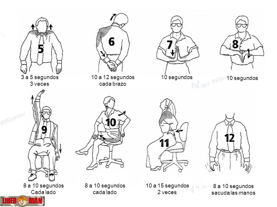 3 a 5 segundos 3 veces. 10 a 12 segundos. cada brazo. 10 segundos. 10 segundos. 8 a 10 segundos.