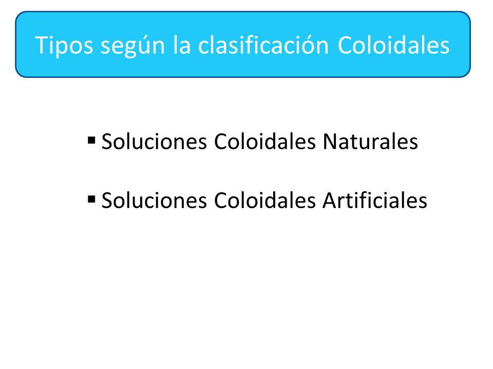 Tipos según la clasificación Coloidales