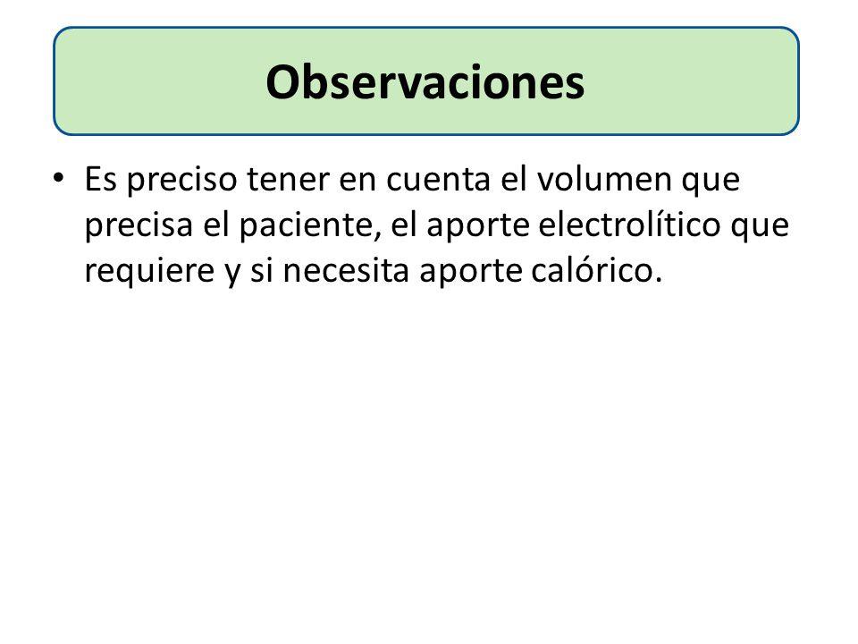 Observaciones Es preciso tener en cuenta el volumen que precisa el paciente, el aporte electrolítico que requiere y si necesita aporte calórico.