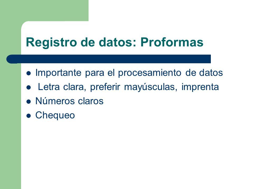 Registro de datos: Proformas