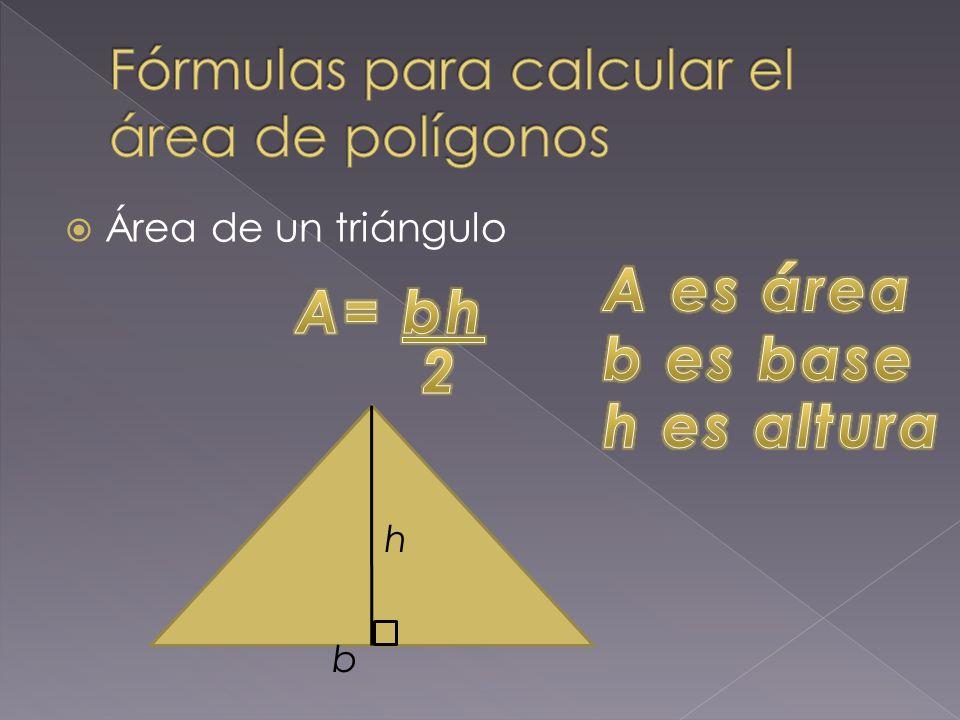 Fórmulas para calcular el área de polígonos
