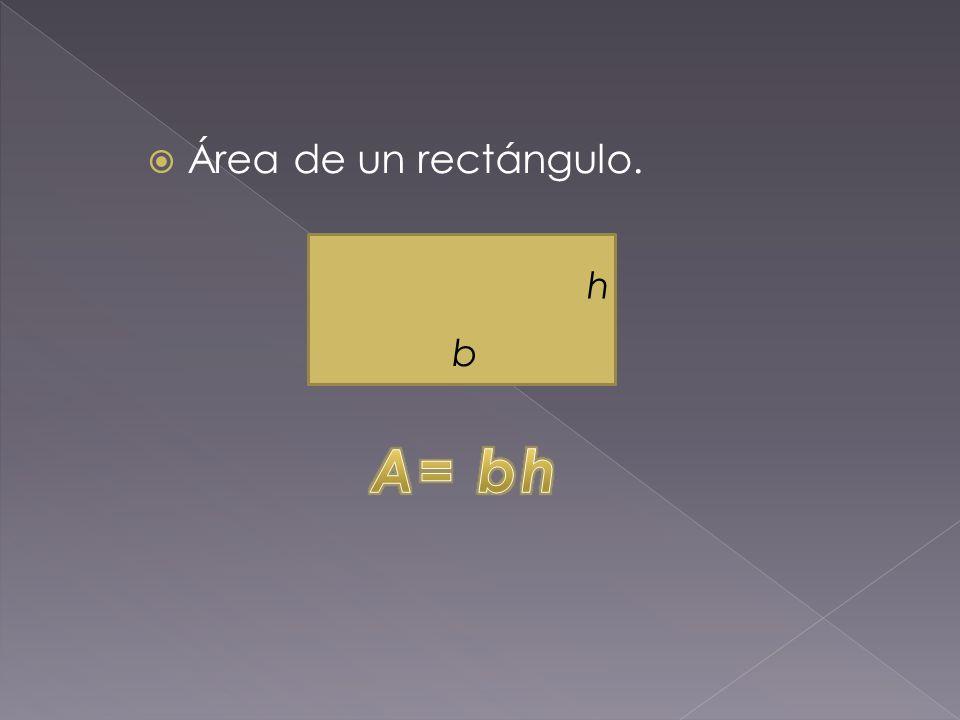 Área de un rectángulo. h b A= bh